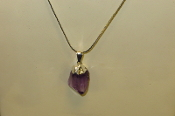 Silver Colored Amethyst Point Necklaces