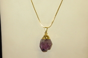 Gold Colored Amethyst Point Necklaces