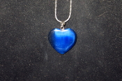 Dark Blue Fiber Optic Heart Necklace