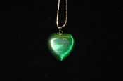 Dark Green Fiber Optic Heart Necklace