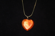 Orange Fiber Optic Heart Necklace
