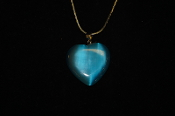 Teal Fiber Optic Heart Necklace