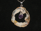 Geode and Amethyst silver colored necklaces