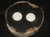 Indonesian Petrified Wood Double Candle holder
