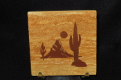 Cactus with Mountain Sandstone Coaster