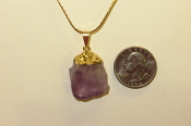 Gold Colored Amethyst Point Necklace