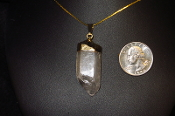 Gold Colored Quartz Crystal Necklace