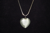 White Fiber Optic Heart Necklace
