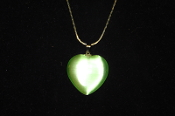 Light Green Fiber Optic Heart Necklace