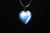 Light Blue Fiber Optic Heart Necklace