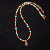 AZ Petrified Wood, Turquoise, and Sterling Silver Necklace