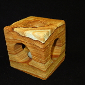 Cube Sandstone Candle Holder